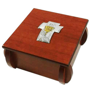First Communion Chalice Laminated Silver Icon on Wood 3 Inch Wooden Rosary Box