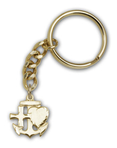 Antique Gold Faith, Hope, & Charity Keychain