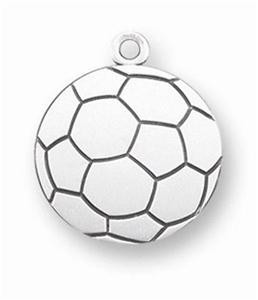 "Saint Christopher Protect This Athlete 1"" Sterling Silver Medal Soccer Pendant"
