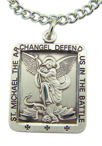 "Saint Michael Defend Us in Battle Medal 1 1/16"" Sterling Silver Pendant Gift Box"
