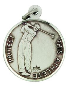 Patron Saint Sebastian 15/16 Inch Sterling Silver Medal for Golf Athlete