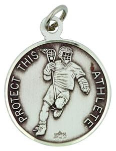 Patron Saint Sebastian 15/16 Inch Sterling Silver Medal for Lacrosse Athlete