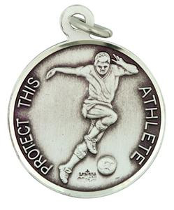 Patron Saint Sebastian 15/16 Inch Sterling Silver Medal for Soccer Athlete