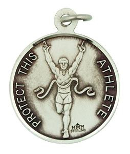 Patron Saint Sebastian 15/16 Inch Sterling Silver Medal for Track Athlete