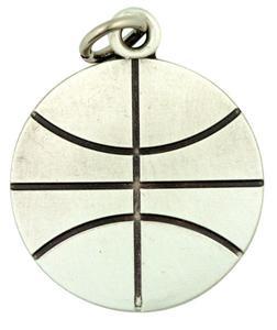"Saint Sebastian Protect This Athlete 1"" Sterling Silver Medal Basketball Pendant"