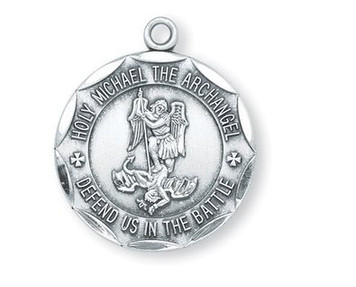 Saint St Michael Defend Us in The Battle 1 Inch Sterling Silver Scalloped Medal