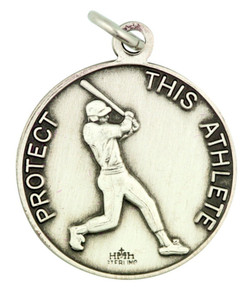 "Saint St Rita Protect This Athlete 15/16"" Sterling Silver Medal Baseball Pendant"