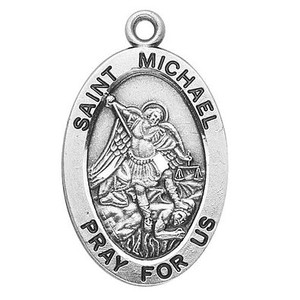 Saint Michael Pray for Us 7/8 Inch Sterling Silver Medal for Police or Military