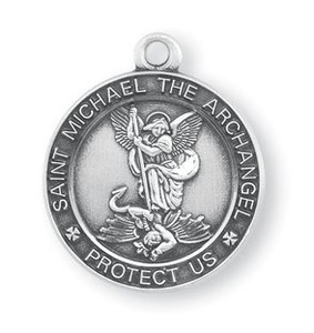 Saint Michael the Archangel Protect Us Medal 13/16 Inch Sterling Silver Pendant
