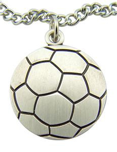 "Jesus Christ Protect This Athlete 1"" Sterling Silver Medal Soccer Ball Pendant"