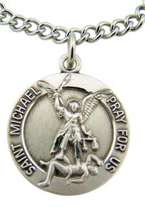 "Saint St Michael Medal with Guardian Angel Back 7/8"" Sterling Silver Pendant"