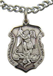 "Saint St Michael Slaying Dragon Protect Us Medal 13/16"" Sterling Silver Pendant"