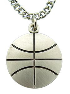 "Jesus Christ Protect This Athlete 1"" Sterling Silver Medal Basketbal Pendant"