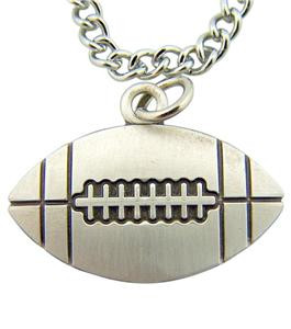 "Jesus Christ Protect This Athlete 3/4"" Sterling Silver Medal Football Pendant"