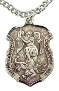 "Patron of Police & Military Saint Michael Pendant 1 3/16"" Sterling Silver Medal"