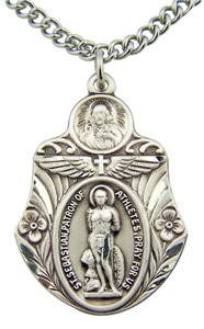 "Patron Saint Sebastian Medal 1 1/2"" Sterling Silver Athletic Protection Pendant"