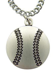 "Saint Christopher Protect This Athlete 1"" Sterling Silver Medal Baseball Pendant"