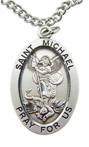 "Saint Michael 1 1/4"" Sterling Silver Medal on 24"" Endless Stainless Steel Chain"