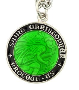 """Saint Christopher Black and Green Enamel 3/4"""" Sterling Silver Surfer Medal"""