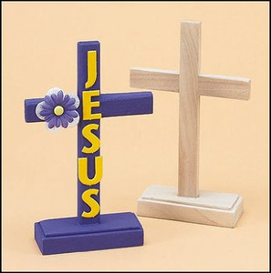 Standing Latin Cross Unfinished Wood Sunday School Activity Arts & Craft Kit