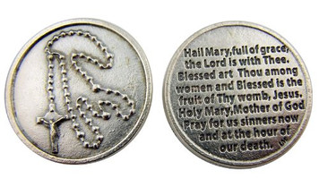 Catholic Gift Rosary Coin with Hail Mary Blessed Holy Mother of God Prayer Pocket Token Keepsake