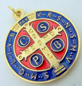 St Benedict Round Gold Tone and Enamel Over Oxidized Silver Medal Pendant Charm