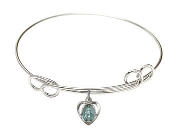Rhodium Plate Double Loop Bangle Bracelet with Blue Enamel Miraculous Heart Medal, 8 Inch