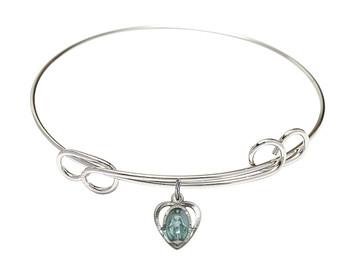 Rhodium Plate Double Loop Bangle Bracelet with Blue Enamel Miraculous Heart Medal, 8 1/2 Inch