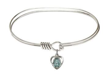 Rhodium Plate Twist Bangle Bracelet with Blue Enamel Miraculous Heart Medal, 7 Inch