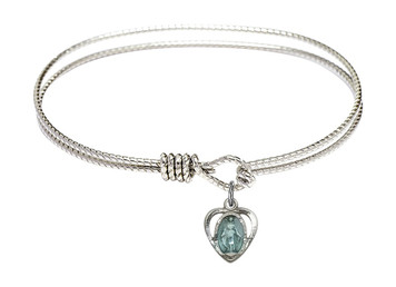 Rhodium Plate Textured Bangle Bracelet with Blue Enamel Miraculous Heart Medal, 6 1/4 Inch