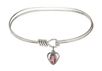 Rhodium Plate Twist Bangle Bracelet with Pink Enamel Miraculous Heart Medal, 7 Inch
