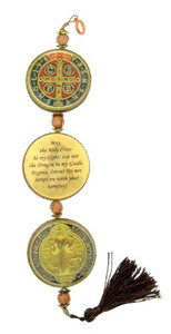 """St Benedict of Nursia Protection Medal 12"""" Wood Epoxy 3 Coin Hanging Wall Plaque"""