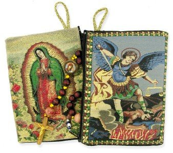 Archangel Saint St Michael with OL Our Lady of Gudalupe Icon Authentic Tapestry Rosary Zipper Holder