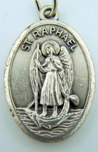 "Patron St Raphael the Archangel 1"" Silver Tone Medal Protection Pendant"