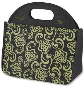 "Faith Script 10"" Polyester Shell Vinyl Lined Tote"