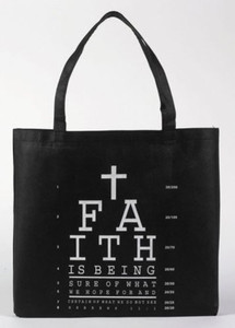 "Faith Eye Chart with Cross Hebrews 11:1 Bible Scripture 13"" Black Nylon Tote Bag"