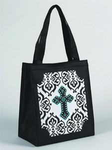 "Gothic Cross Design 10"" Nylon Tote Bag"