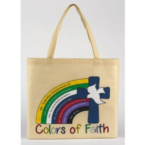 "The Colors of Faith Rainbow with Holy Dove Latin Cross 13"" Nylon Tote Bag"