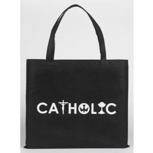 "Christian Symbols 13"" Black Nylon Catholic Tote Bag"