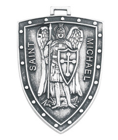Sterling Silver Shield Shaped St. Michael Medal