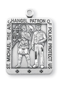 Sterling Silver Square Shaped St. Michael Medal
