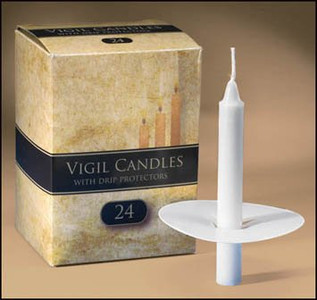 "Church Service Ceremony Candlelight Vigil 1/2 x 4 1/4"" Candles Lights with Paper Drip Protectors - 24 Per Box"
