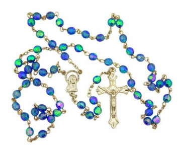 Light Blue Aurora Borealis Style Glass Beads Rosary with Virgin Mary Centerpiece
