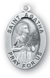 Sterling Silver Oval Shaped St. Agatha Medal