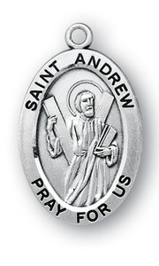 Sterling Silver Oval Shaped St. Andrew Medal