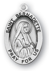 Sterling Silver Oval Shaped St. Bernadette Medal