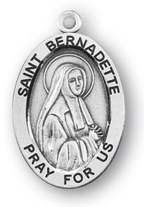 Sterling Silver Oval Shaped St. Bernadette Medal