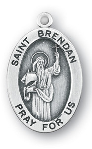 Sterling Silver Oval Shaped St. Brendan Medal