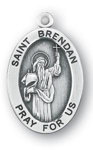Sterling Silver Oval Shaped St. Brendan Medal