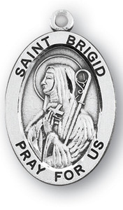 Sterling Silver Oval Shaped St. Brigid Medal